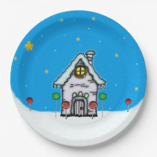 Gingerbread House Scene Paper Plate
