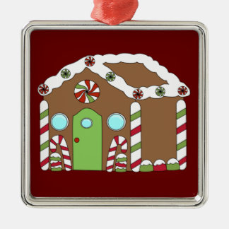 Gingerbread House Silver-Colored Square Decoration