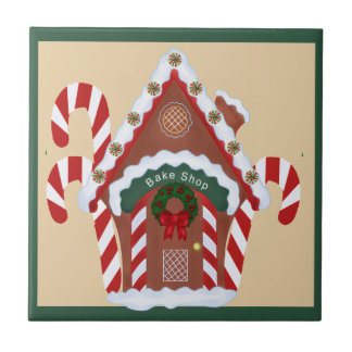Gingerbread House Small Square Tile