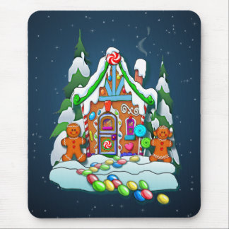 GINGERBREAD HOUSE & STARS by SHARON SHARPE Mouse Pad