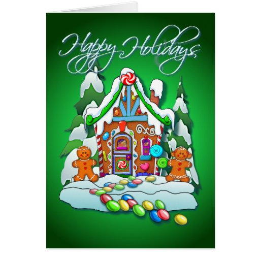 GINGERBREAD HOUSE & TEXT by SHARON SHARPE Greeting Card