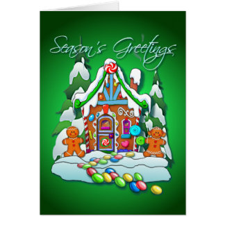 GINGERBREAD HOUSE TEXT by SHARON SHARPE Greeting Card