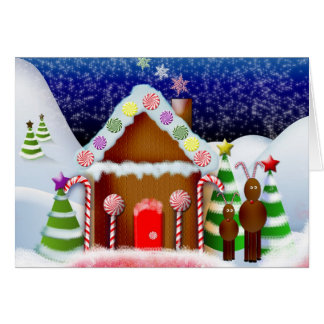 Gingerbread house with reindeer greeting card