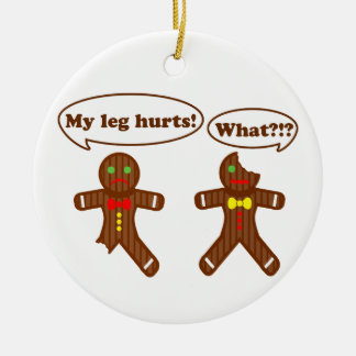 Gingerbread Humor Round Ceramic Decoration