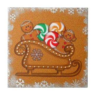 GINGERBREAD KIDS SLEIGH & COOKIES by SHARON SHARPE Small Square Tile