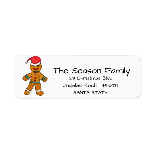 Gingerbread man address label