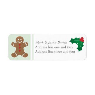 Gingerbread Man and Holly Return Address Label