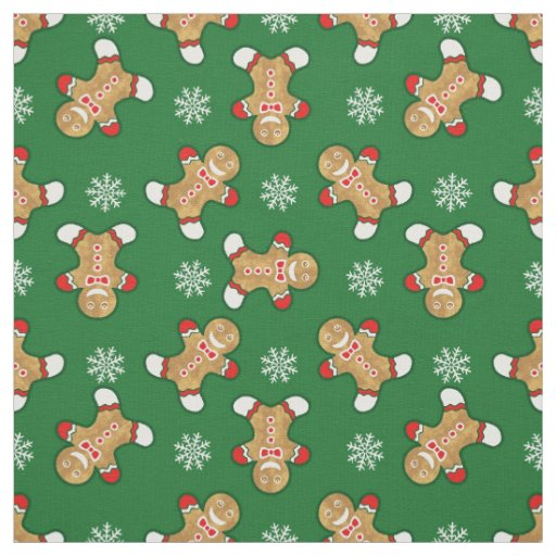 Gingerbread Man And Snowflake Pattern Fabric Zazzle