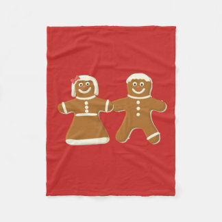 Gingerbread Man and Woman on Red Fleece Blanket