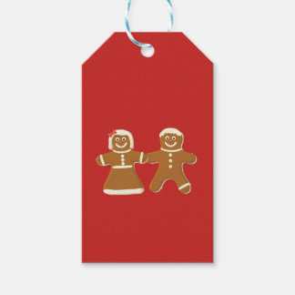 Gingerbread Man and Woman on Red Gift Tags