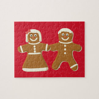 Gingerbread Man and Woman on Red Jigsaw Puzzle