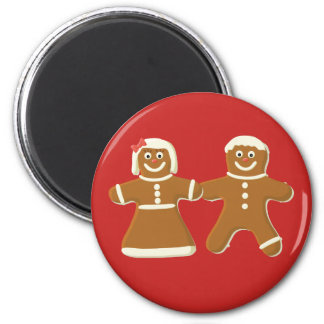 Gingerbread Man and Woman on Red Magnet