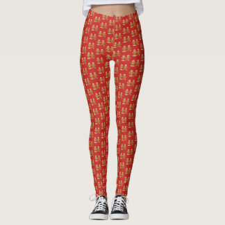 Gingerbread Man and Woman on Red Pattern Leggings