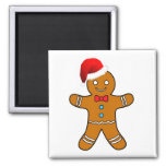 gingerbread man at christmas square magnet