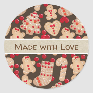 Gingerbread Man Baked Cookies Rustic Whimsical Classic Round Sticker