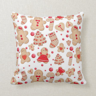 Gingerbread Man Baked Cookies Rustic Whimsical Cushion