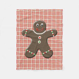 Gingerbread Man Boy Cute Christmas Red White Fleece Blanket