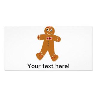 Gingerbread man cartoon custom photo card