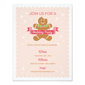 Gingerbread Man Christmas Cookie Exchange 11 Cm X 14 Cm Invitation Card