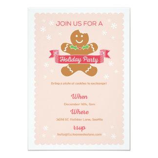 Gingerbread Man Christmas Cookie Exchange 13 Cm X 18 Cm Invitation Card