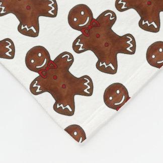 Gingerbread Man Christmas Cookie Holiday Baking Fleece Blanket