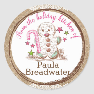 Gingerbread man Christmas from the kitchen of Round Sticker