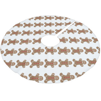 Gingerbread Man Christmas Holiday Brushed Polyester Tree Skirt