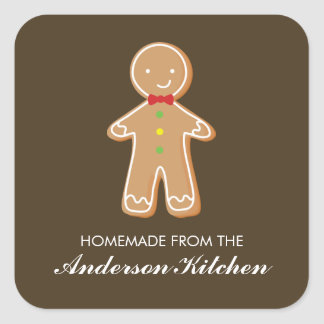 Gingerbread Man Christmas Square Sticker