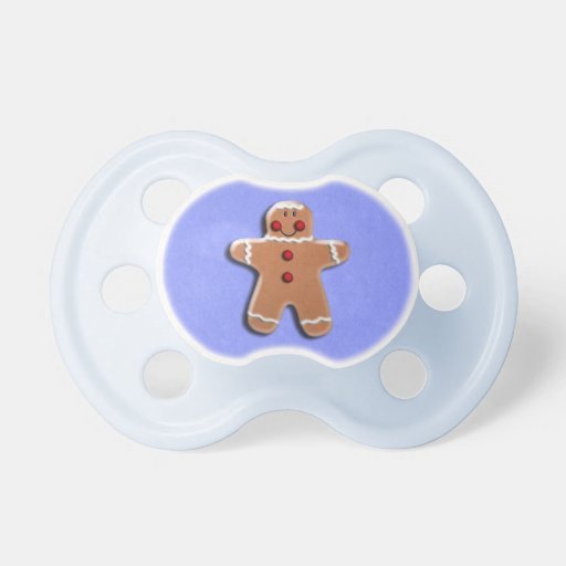 Gingerbread Man Cookie Blue Baby Pacifiers