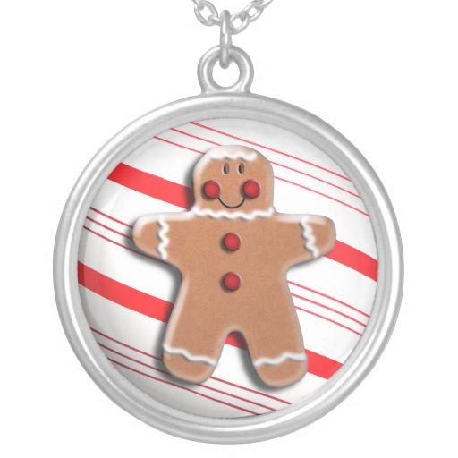Gingerbread Man Cookie Candy Cane Stripes Pendants