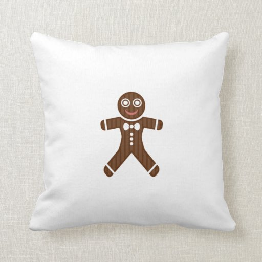 Gingerbread Man Cookie Throw Pillows