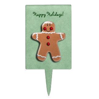 Gingerbread Man Cookie Green Rectangular Cake Pick
