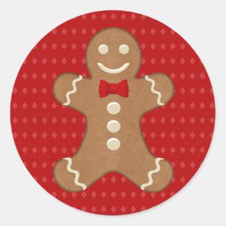 Gingerbread Man Cookie Holiday Round Sticker