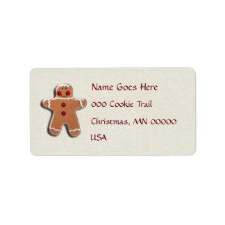 Gingerbread Man Cookie Address Label