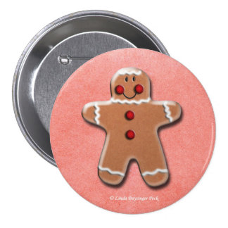 Gingerbread Man Cookie Pinback Buttons