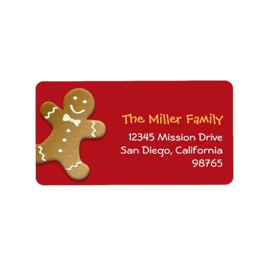 Gingerbread man cookie red holiday return address address label