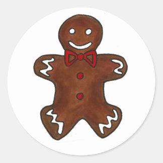 Gingerbread Man Cookie Round Sticker
