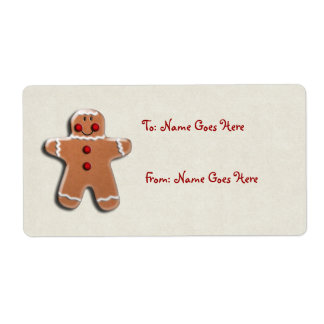 Gingerbread Man Cookie Shipping Label