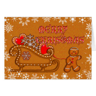 GINGERBREAD MAN, COOKIE & SLEIGH by SHARON SHARPE Card