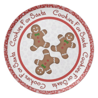 Gingerbread Man Cookies For Santa Melamine Plate