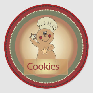Gingerbread Man Cookies Round Stickers