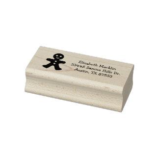 Gingerbread Man Custom Address Rubber Art Stamp