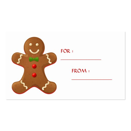 Gingerbread man Gift Tag Business Cards | Zazzle