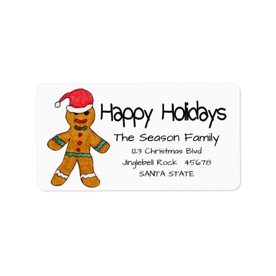 Gingerbread man  Happy Holidays address label