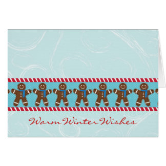 Gingerbread Man Happy Holidays Winter Greeting Cards