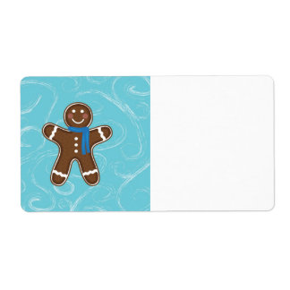 Gingerbread Man Happy Holidays Winter Shipping Label
