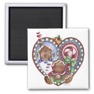 Gingerbread Man Heart Magnet