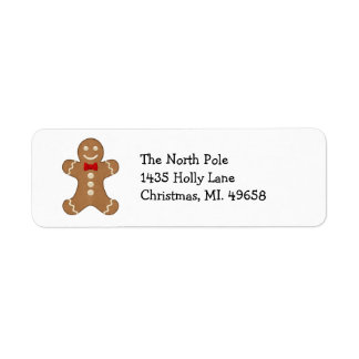 Gingerbread Man Holiday Return Address Labels