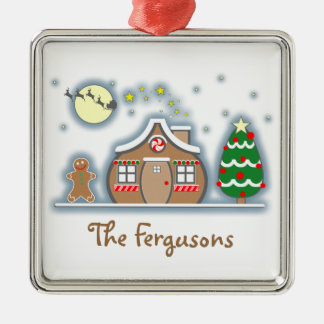 Gingerbread Man & House Snow Scene Christmas Silver-Colored Square Decoration