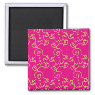 Gingerbread Man Icon Square Magnet